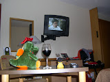 Photo: after a long and strenuous day the dragon from krakow and i share some wine and watch tv in my room