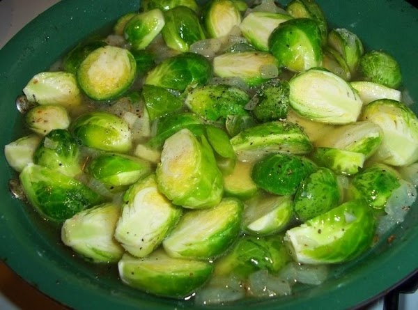 Add the broth and cook, covered, over low heat until the sprouts are easily...