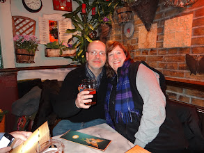 Photo: We made it to London! Owen Ogletree and The Beer Wench prepare for real ale and a Thai meal at Fullers' charming Churchill Arms pub in London.