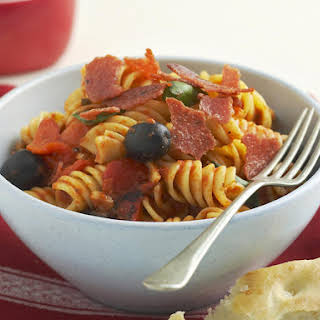 Pepperoni, Olive and Roasted Red Pepper Pasta.