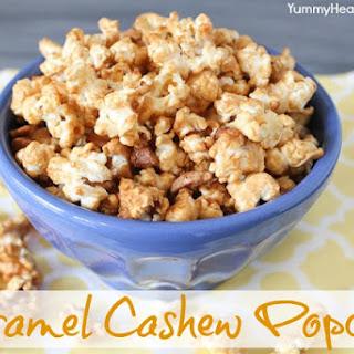 Quick & Easy Caramel Cashew Popcorn Snack.
