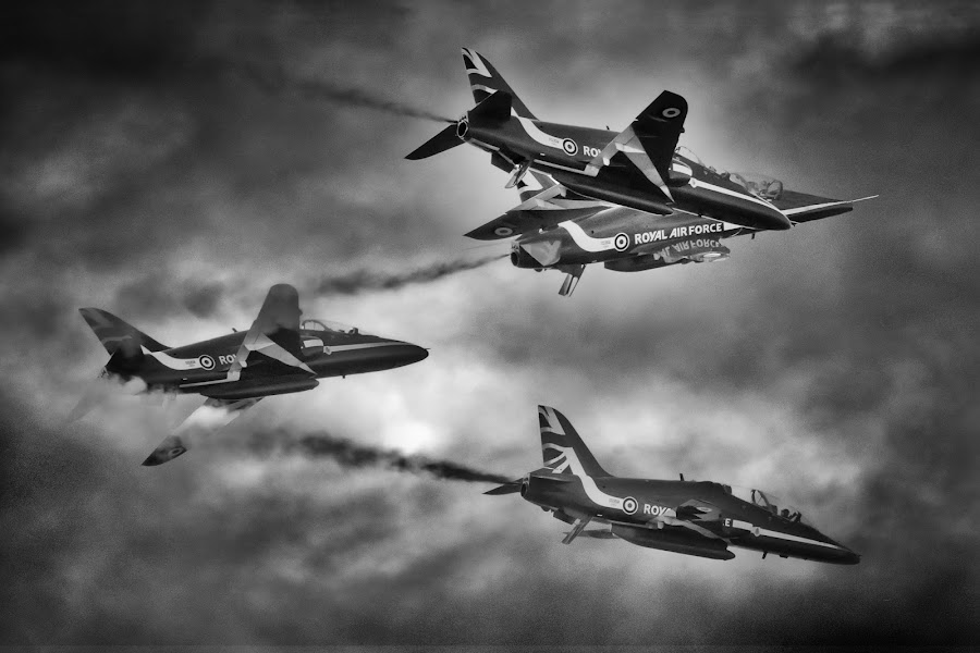 Black and white Arrows by Stephen Crawford - Black & White Objects & Still Life ( aviation, flying, #garyfongdramaticlight, #wtfbobdavis, prestwick, ayr, show, aerial, display, planes, in flight, air show )