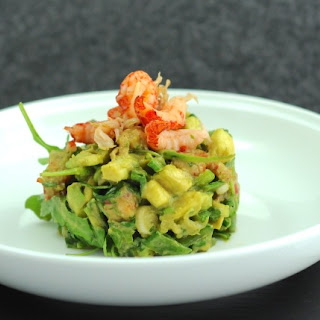 Asian Crayfish, Arugula, Snow Peas, and Avocado Salad.