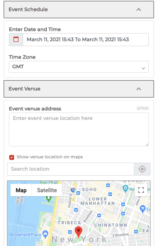 Event Venue and maps location in QR Code