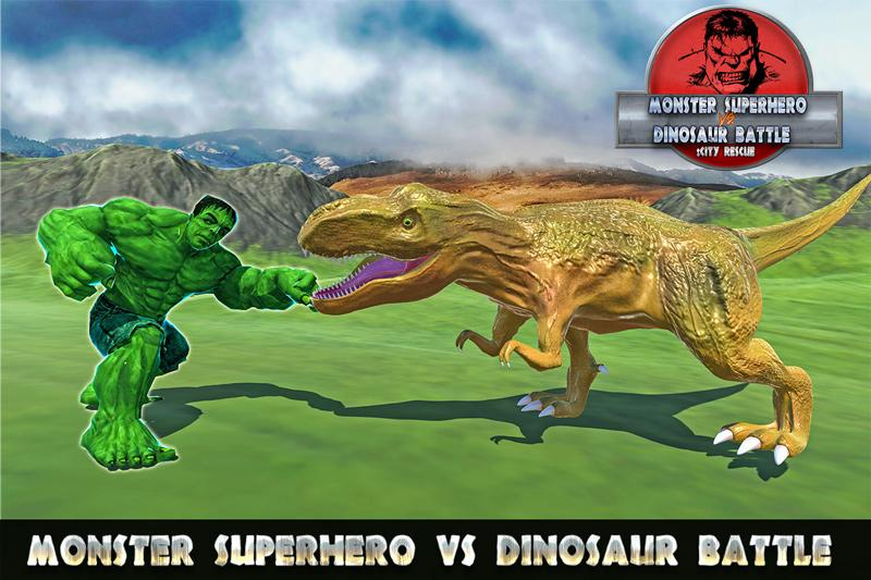 Monster Superhero vs Dinosaur Battle: City Rescue- screenshot