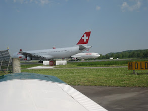 Photo: An Airbus 340 on runway 28, ready for departure http://www.swiss-flight.net