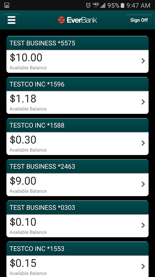 EverBank Business Banking- screenshot