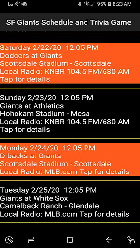 Schedule and Trivia Game for SF Giants fans screenshots 2