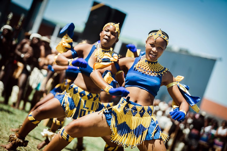 Amabhubesi dancers from Pietermaritzburg take part in the sixth annual Ingoma Dance Competition in Durban on Sunday.