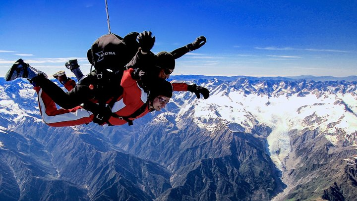 Skydive from 20,000 ft over Franz Josef Glacier