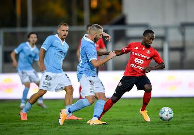 Gérald Kilota (Seraing) satisfait d'avoir inscrit le but de la victoire contre Deinze