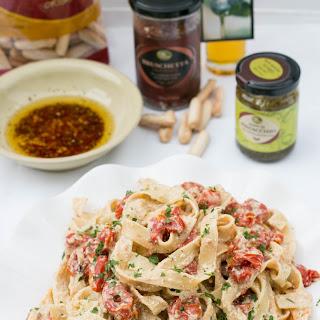 Tagliatelle with Roasted Tomatoes & Pesto Ricotta