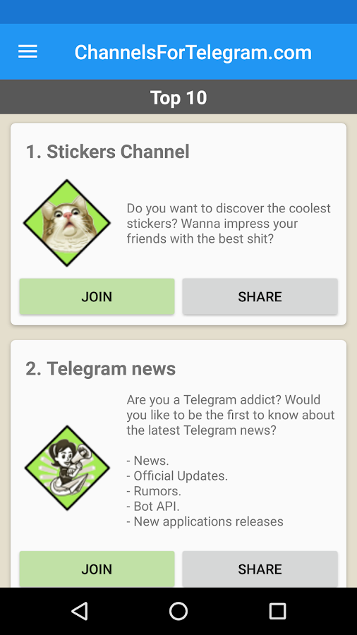 Telegram android games channel