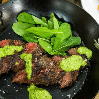 Hanger Steak Recipe With Moroccan Harissa Sauce And Marinated Vegetables.