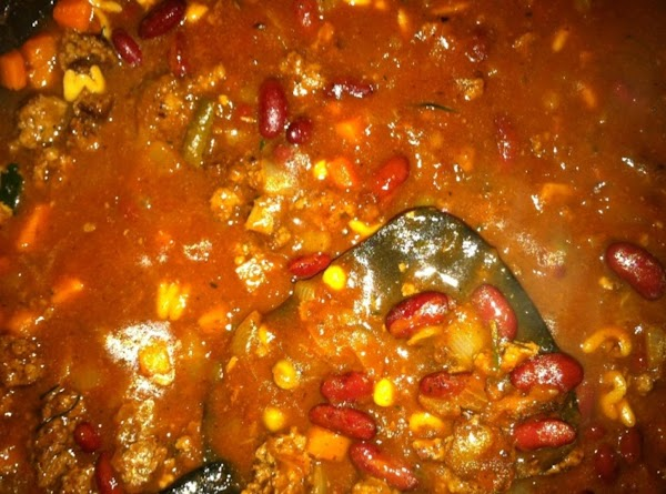 Chili after the alphabet soup was added.