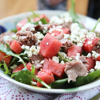 Roast Beef Spinach and Arugula Salad with Watermelon.