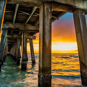 Under The Pier by Brad Kalpin - Landscapes Waterscapes ( naples, waterscape, pier, landscape )