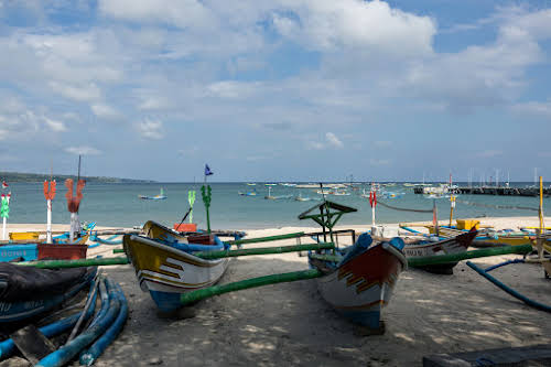Indonesia. Bali Cooking Class. Fishermen boats by the Jimbaran Fish Market
