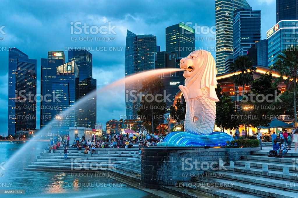 Merlion Singapore, Singapore - December 22, 2013: The Merlion fountain lit up at night in Singapore. Singapore Stock Photo