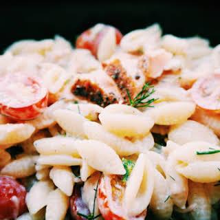 Cold Smoked Salmon Pasta Salad.