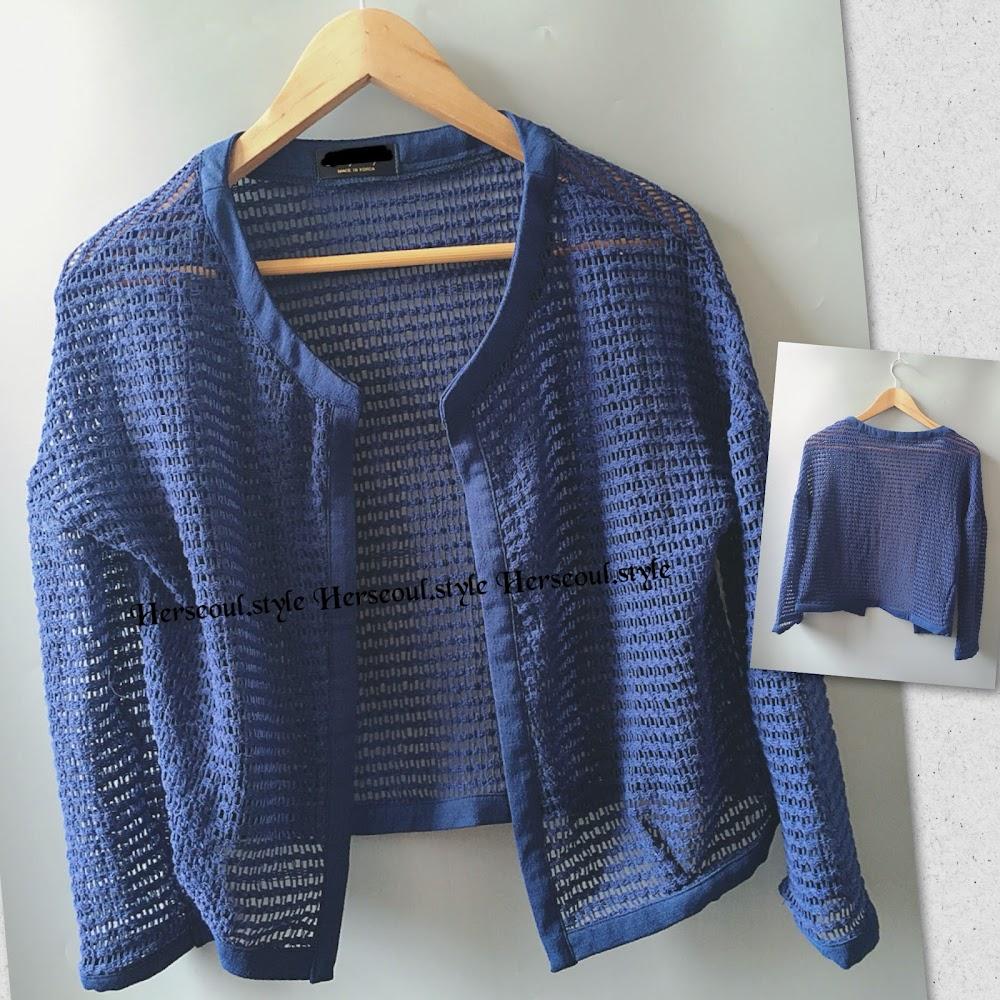 🈹藍色格網外套