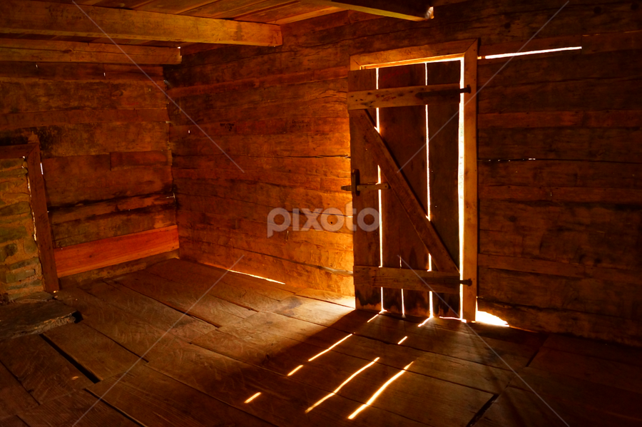 An Open Door by Beth Collins - Buildings & Architecture Other Interior ( abstract, cabin, national park, lighting, park, door, sunlight, woods, light, smoky mountains, sun,  )