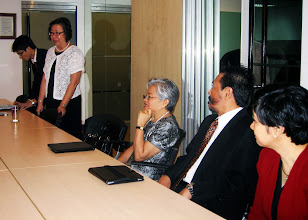 Photo: 22 August 2013 - Visit to the FINEX Office in Makati with Menchu Serina, Head of the Organizing Committee for the 44th IAFEI World Congress in Manila, presenting updates on the event.  Looking on are Conchita Manabat, Omar Cruz and Lynn Angeles