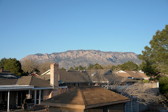 Photo: The Sandia Mountains with 3255m elevation seen from my temporary home in Albuquerque at 1500m.
