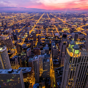 Sunset in the Windy City by Hamish Carpenter - City,  Street & Park  Skylines ( lights, orange, illinois, sunset, twilight, hancock, pink, aerial, cityscape, travel, architecture, chicago )