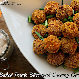 Loaded Baked Potato Bites with Creamy Garlic Sauce