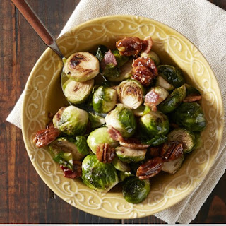 Pancetta Brussels Sprouts with Caramelized Pecans.