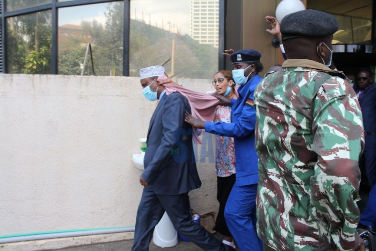 Garissa Governor Ali Korane leaves EACC offices after he recorded a statement over the mismanagement of Sh233 million World Bank grant on September 14, 2020.