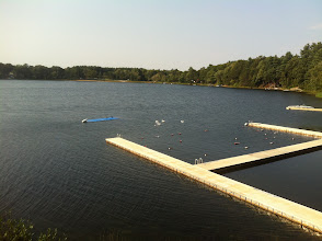 Photo: View of the lake from the top floor of the boat house.