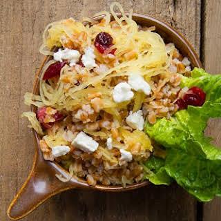 Farro and Spaghetti Squash Salad with Pomegranate Vinaigrette.