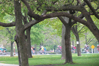 Photo: U of Chicago Quad, with bicycle racers