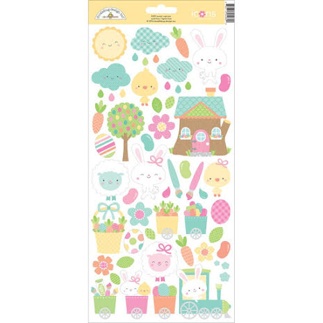 Doodlebug Easter Express Cardstock Stickers 6X13 - Icons