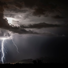Lightning strikes over the Sonoran Desert near Tucson, AZ by Scott Wood - Landscapes Weather ( clouds, lightning, sky, desert, arizona, dark, weather, storm chasing, storm, light,  )