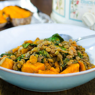 Slow Cooker Lentil Soup with Baked Sweet Potato.