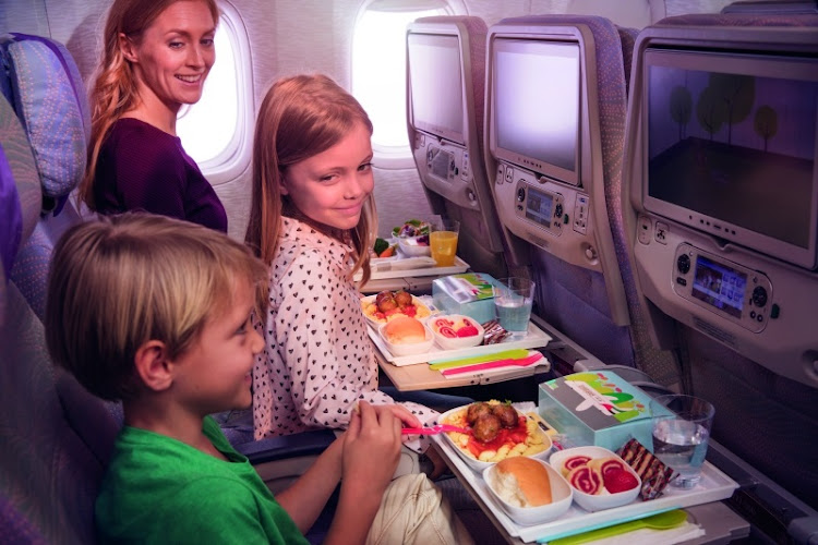 Young flyers can enjoy specially designed children's meals while flying on Emirates.