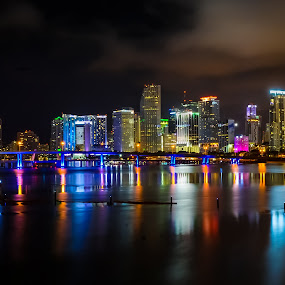 Night shot of Miami Skylines by Marcin Frąckiewicz - City,  Street & Park  Night ( night, skylines )