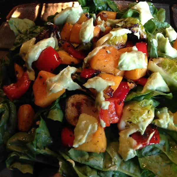 Roasted Veggie Spinach Salad W/avocado Drizzle Recipe