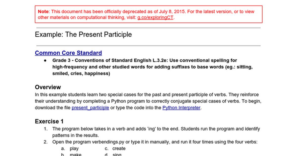 The Present Participle (DEPRECATED) - Google Docs