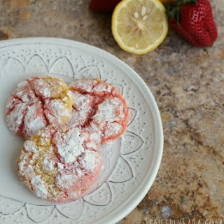 Strawberry Lemon Crinkle Cookies