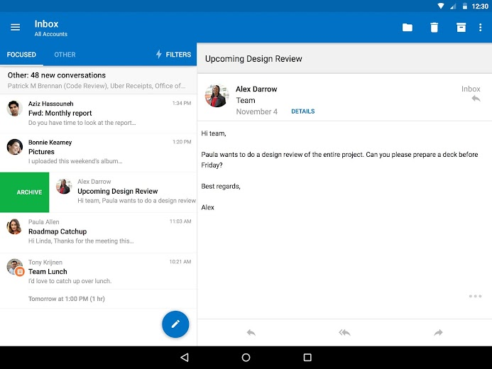 Screenshot 12 for Outlook Mail's Android app'