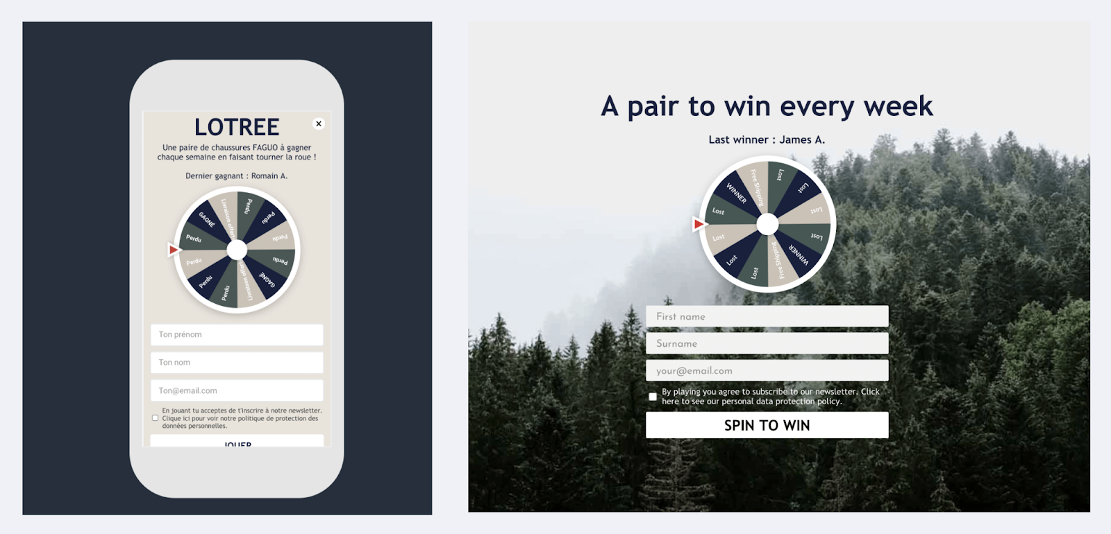Spin to win popup mobile and desktop versions