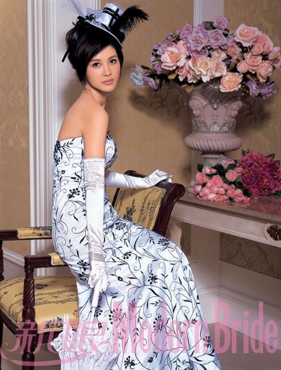 Black Floral Design on Strapless Wedding Dress