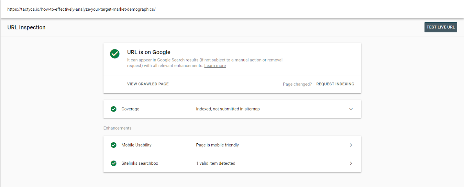 Google Search Console request indexing