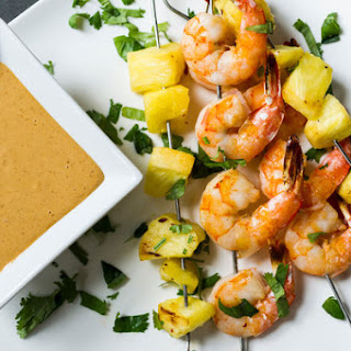 Shrimp and Pineapple Skewers With Peanut Sauce