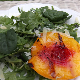 Arugula and Spinach with Grilled Peaches Salad.