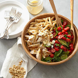 Pasta with Chicken, Spinach, Tomatoes, and Feta Cheese.